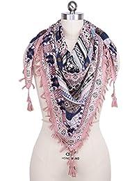 052966be388 iShine Femme Echarpe Carré avec Impression Foulard en Style Bohême 110    110cm Châle Coloré Légère