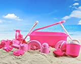 Pink Princess Beach Wagon Toy Set for Kids with Castle Molds