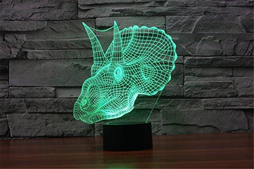 LOTOS® Neue Ankunft Erstaunlich Tyrannosaurus Rex Form einzigartige Beleuchtung bunte Lichteffekt Touch Schalter Statue Dekoration Nachtlicht Schreibtischlampe
