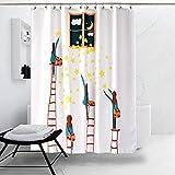 J&DUS 3D badvorhänge Lebendige Digitaldruck Polyester Wasserdicht Bad Vorhang für Badezimmer,Datenschutz Schweres Gewicht- 240x200cm(94x79inch)