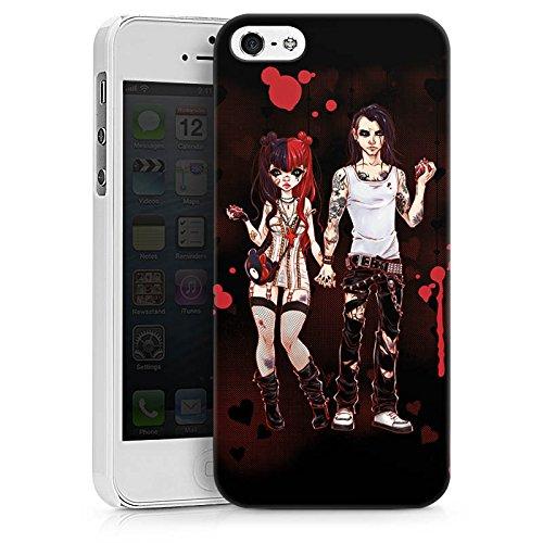 Apple iPhone X Silikon Hülle Case Schutzhülle Valentine Dark Comic Boy and Girl Hard Case weiß
