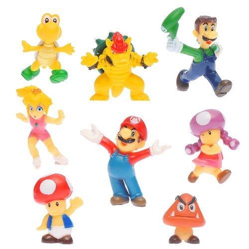 OliaDesign® Super Mario Brothers Figuren Set (8Stück), 3,8cm klein
