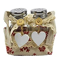 Unimasa Salt and Pepper Glass with Lace Hearts and Basket Fabric Set Pieces 2.