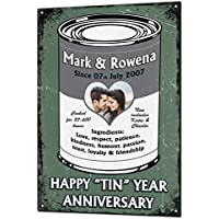 10 Year Tin Wedding Anniversary Gift Custom Vintage Metal & Matching Fridge Magnet Keepsake Sign Retro Plaque Fully Personalised Photo & All Text