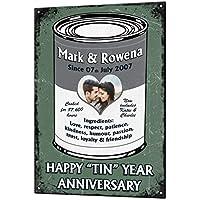 10 Year Tin Wedding Anniversary Gift Custom Vintage Metal & Matching Fridge Magnet Keepsake Sign Retro Plaque Fully Personalised Photo & All Text