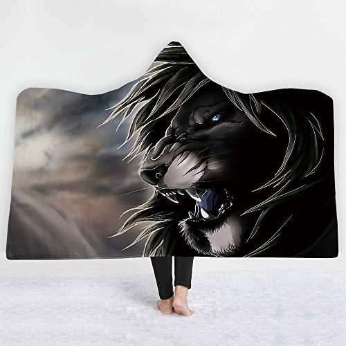 Mantas para sofá y Cama, Resistentes a Las Arrugas, Anti-Fade,Fantasy Beast Tiger Hooded Blanket LaManta de los niños QueDuerme laSiesta, 130 * 150cm