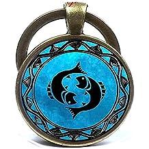 Blue Moon Piscis símbolo del zodiaco Astrología horóscopo llavero de cúpula de cristal