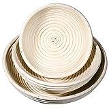 SIDCO Gärkorb Gärkörbchen 3 Stück Gärkörbe Set Brotteig Korb Brotform Peddigrohrkorb