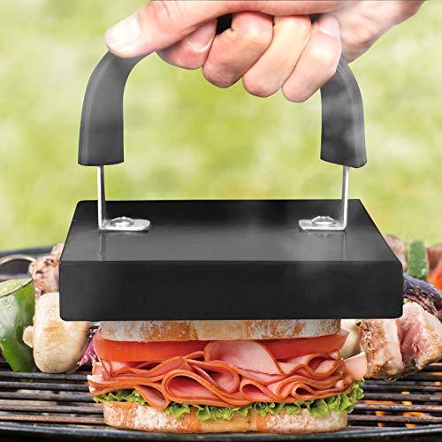 BBQ Grill Presse mit Griff | Größe: 20 x 15 x 14cm, Emaille Beschichtet | Fleischpresse, Sandwichtoaster, Speckpresse, Burgerpresse, Grillzubehör