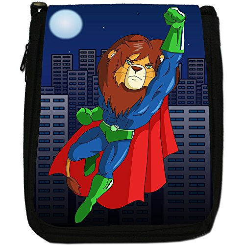 Superhero Action Hero animali Medium Nero Borsa In Tela, taglia M Flying Red Cape Lion