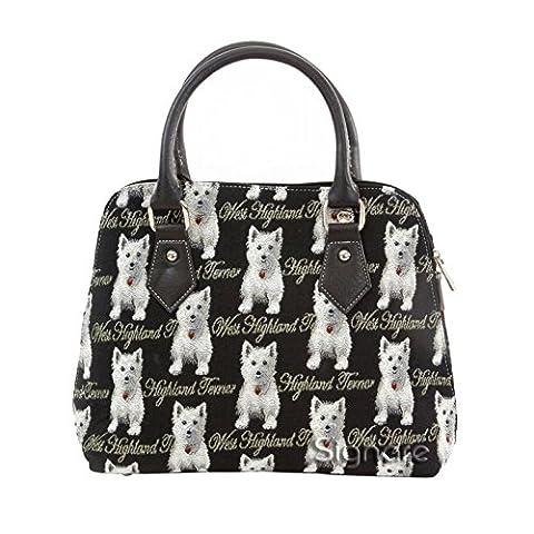 Ladies Fashion Handbags Shoulder bags Canvas Westie Dog (Convertible)