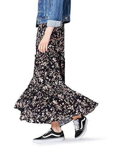 FIND Damen Rock Floral Tiered Maxi Schwarz (Black Mix), 44 (Herstellergröße: XX-Large) (Skirt Floral Tiered)