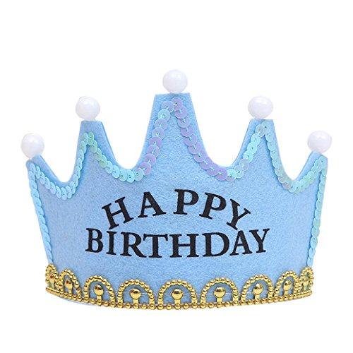 Pu ran LED leuchten Happy Birthday Prinzessin King Crown Cap Weihnachten Party Stirnband size Happy Birthday ()
