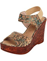 Catwalk Women's Printed Ankle Strap Wedges