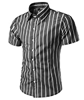 Tootlessly Mens Striped Printed Slim Fit Button Down British Causal Shirts Black S