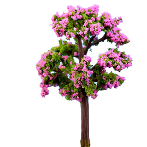 (AOWA Bäume für Miniatur Feen-Garten Ornament Puppenhaus-Pflanzen-Figur DIY Basteln Grün/Rot)