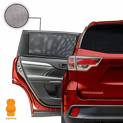 BEST CAR WINDOW SHADES - Blocks UV Rays - Covers Rear Side Windows - Protects Baby Kids And Pets - Premium Quality Car Sun Shades - Universal Easy Fit - Pack of 2