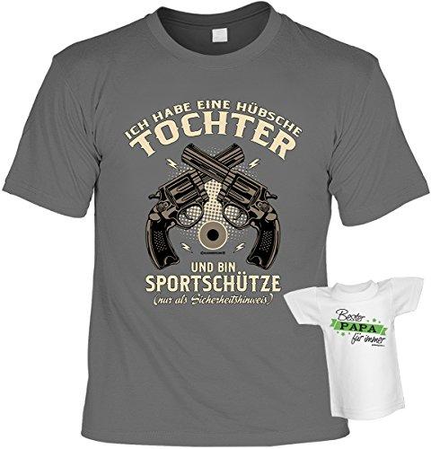 Fun T-Shirt mit Mini Shirt: Ich habe eine hübsche Tochter und bin Sportschütze - nur als Sicherheitshinweis - Lustiges Geschenk - anthrazit Anthrazit