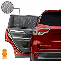 Car Window Shades - Blocks UV Rays - Covers Rear Side Windows - Protects Baby Kids And Pets - Premium Quality Car Sun Shades - Universal Easy Fit - Pack of 2