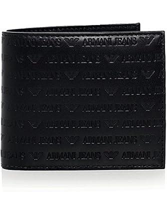 Armani Jeans Men's Leather Logo Billfold Wallet Black