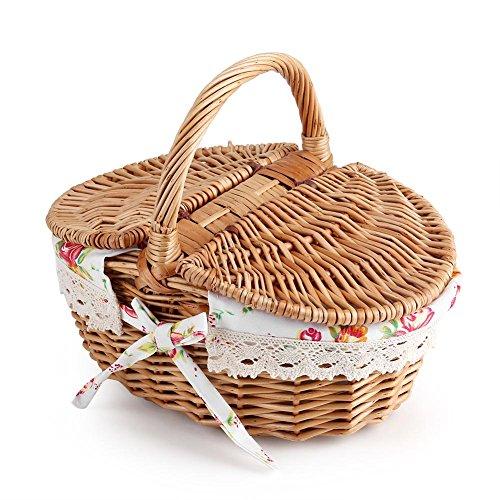 ViaGasaFamido Wicker Picknickkorb mit Deckel, Oval Rattan Korb mit Griff, Doppeldeckel Floral Leinen-Liner Familie Camping Picknickkorb Organizer Home Decor -