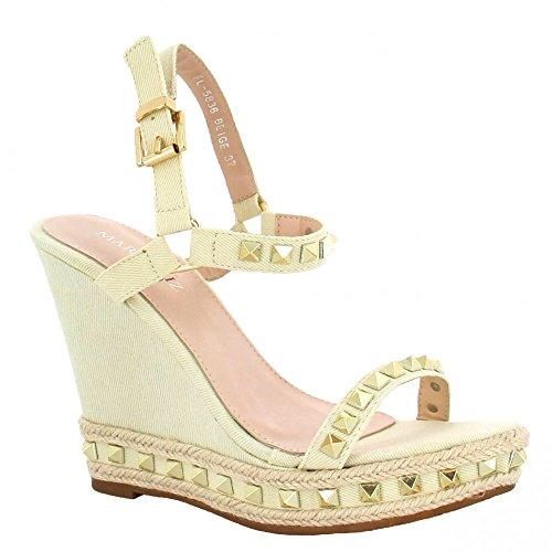 Ideal Shoes - Sandales compensées en toile avec clous Verica Beige