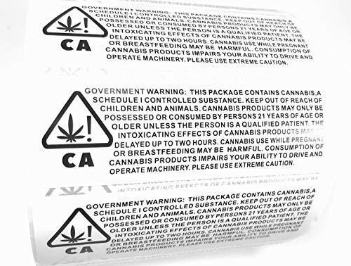 Aufkleber, Cannabis 2019-2020 California Compliance Cannabis Etiketten 1000 Stück pro Rolle 7,6 x 2,5 cm -