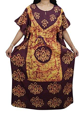 Indiatrendzs Women's Maxi Dress Maroon Yellow Summer Cotton Batik Nightwear Kaftans  available at amazon for Rs.497