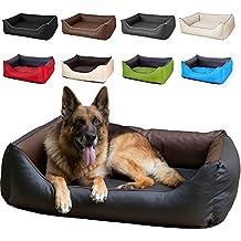 CopcoPet Hundebett Rocco XL 110 x 90cm, Braun-Schwarz, 2in1 wasserabweisendes Hundebett, Hundeschlafplatz komplett aus Kunstleder, Hundematratze aus Schaumstoff-Flocken