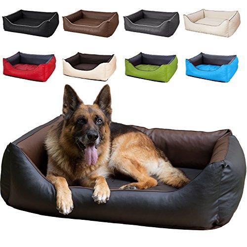 hundeinfo24.de CopcoPet Hundebett Rocco L 90 x 70cm, Braun-Schwarz, 2in1 wasserabweisendes Hundebett, Hundeschlafplatz komplett aus Kunstleder, Hundematratze aus Schaumstoff-Flocken