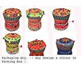 #5: Florishkart Hand Crafted Vintage & Antique Rajasthani Handmade Patchwork Cotton & Bamboo Mudda/Ottoman/Stool/Pouffe Multi Color Mix Design Patten