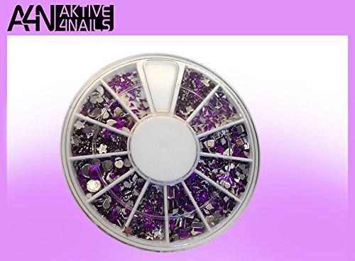 Aktive4Nails Nagestudio Starterset 2Go Nr.1 UV Gel Nagel Set Nagelstudioset 1x RONDELL GRATIS mit 600 Strasssteinchen gefüllt mit verschiedenen Motiven in lila