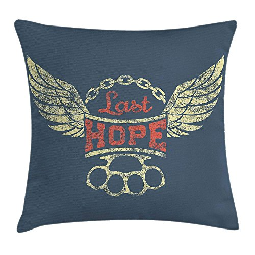 Pastel Yellow Label (Vintage Throw Pillow Cushion Cover, Grunge Label Wings Chain Brass Knuckles Last Hope Quote for Bikers, Decorative Square Accent Pillow Case, 18 X 18 Inches, Slate Blue Red Pale Yellow)