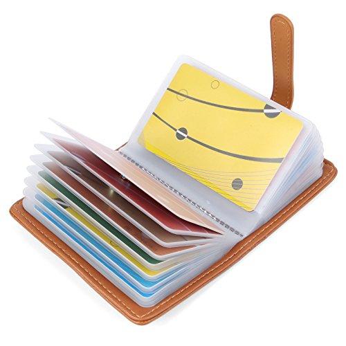 10 Colores Tarjetero para Tarjeta de Credito Cuero para Mujer Hombre – 26 Tarjetas (Marrón#2)