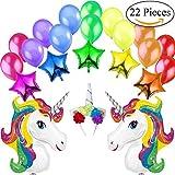 Jonami Decoracion Unicornio Cumpleaños 2 Unicornios Gigantes Arcoíris, 5 Estrellas Globos de Aluminio, 1 Diadema de Unicornio, 14 Globos Grandes Perlados