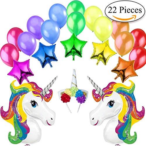 Jonami Einhorn Luftballons Geburtstag Deko Party Dekoration Kit 2 XXL Regenbogen Einhörner Luftballons, 5 Sterne Folienballons, 1 Einhorn Stirnband mit Blumen, 14 große Perlen Latex Ballons