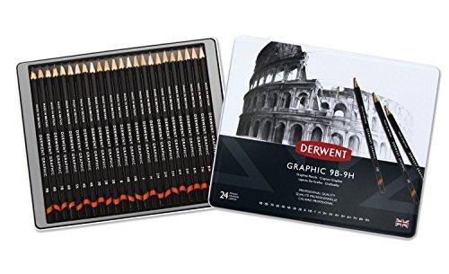 derwent-graphic-lpices-de-grafito-24-unidades-en-estuche-de-metal-dureza-9b-9h-color-negro