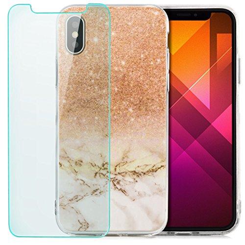 Custodia iPhone X Cover + Vetro Temperato Case Silicone Slim Copertura [zanasta] Custodia Sottile e Flessibile con Disegno Marmo-Sakura Marrone Chiaro