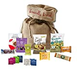 Vegan Student care package by The Yummy Palette | student gifts Wishing You Good Luck On Your Exams | Eat Real Chips Rice Cakes Nuts Rhythm 108 cakes in Basically British Rustic Gift Bag