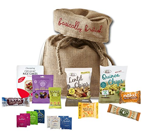 Healthy Snacks Student Care Package by The Yummy Palette | student gifts Wishing You Good Luck On Your Exams | Eat Real Chips Rice Cakes Nuts Rhythm 108 cakes in Basically British Rustic Gift Bag