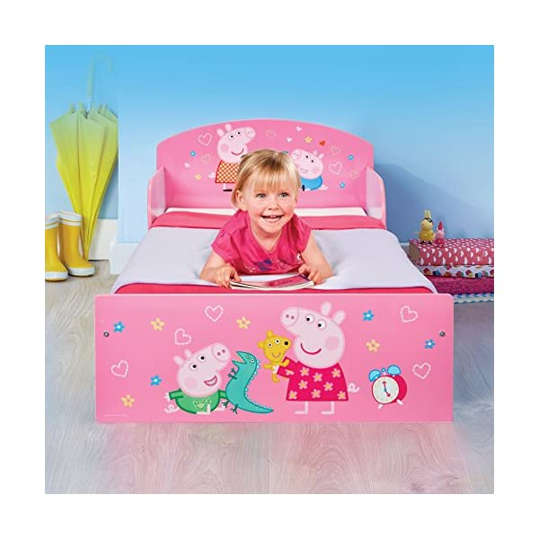 Peppa Pig Kids Toddler Bed by HelloHome Peppa Pig. Snuggle in after a day of play in this Peppa Pig Toddler Bed Perfect size for toddlers, low to the ground with protective and sturdy side guards to keep your little one safe and snug Fits a standard cot bed mattress size 140cm x 70cm, mattress not included. Part of the Peppa Pig bedroom furniture range from HelloHome 5