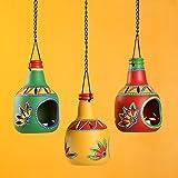 ExclusiveLane 'The Bottle Trio' Tealight Holders (Set Of 3)- Votive Candle Holders Seasonal Decorations Diyas & Lanterns Home Décor Diwali Gift