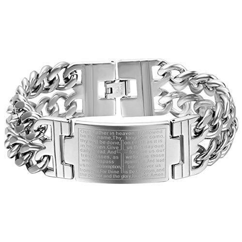 Cupimatch Edelstahl Bibel Lord Prayer breites Armband, Silber Damen Herren Vintage katholischen Kreuz Handgelenk Link Religiöse Armband (High Vintage Polish)
