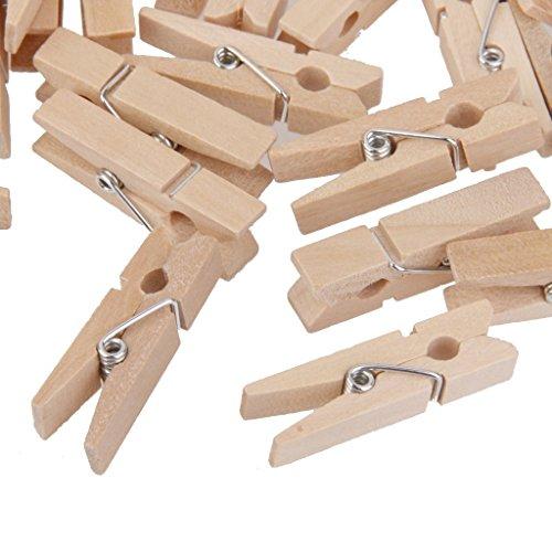 Naisidier Mini Holzklammern 100 Stück Sprossen mit Naturholz-Finish Ideal für Kunsthandwerk Foto Clip Dekoration Haus und Andere Farbe bronziert Holzclip -