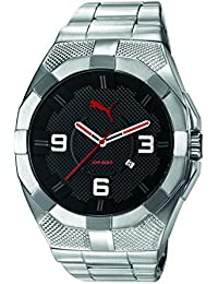 PUMA Iconic S Men's Quartz Watch with Black Dial Analogue Display and Silver Stainless Steel Strap PU103921003