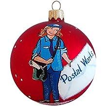 """3,25""""postal trabajador adorno de Navidad de cristal"""