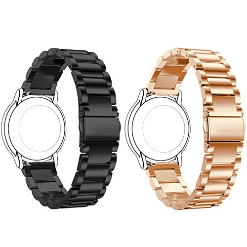 ECSEM Replacement 2pcs Premium Solid Stainless Steel Watch Bands Metal Straps Bracelets - Choices of Color & Width (22mm) -3beads (Black+Rose Gold) (Pebble Steel Metal Watch Band)