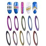 Xshuai 10 Farben Rolls 1mm Striping Tape Line Rough Selbstklebende Styles Nail Art Tips Decals (Mehrfarbig)