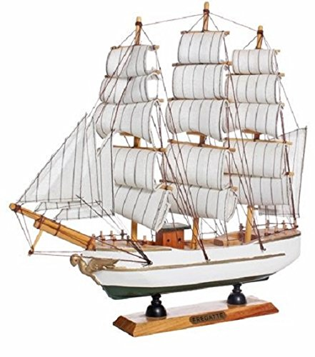 JaipurCrafts Big Antique Lucky Decorative Wooden Sailing Ship Showpiece Office Home Decoration Business Gifts (Antique Wood, Multi color, Size:- 27 Cm Hight)
