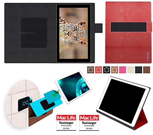 reboon Hülle für Blaupunkt Endeavour 101G Tasche Cover Case Bumper | in Rot Leder | Testsieger